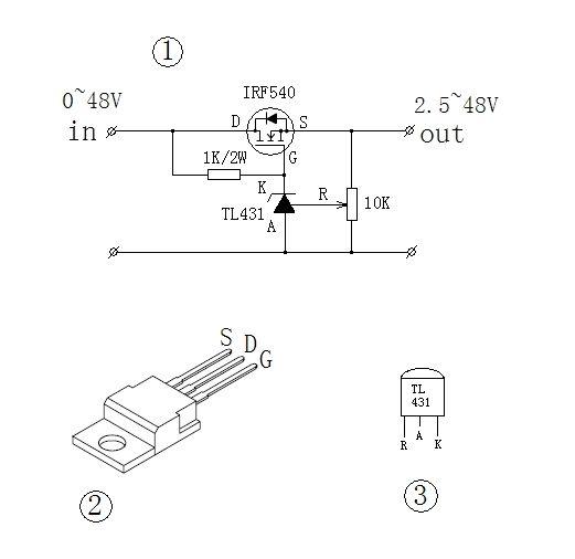 一个1k/2w的电阻,一个10k的可调电阻,一个irf540型场效应管,一个精密