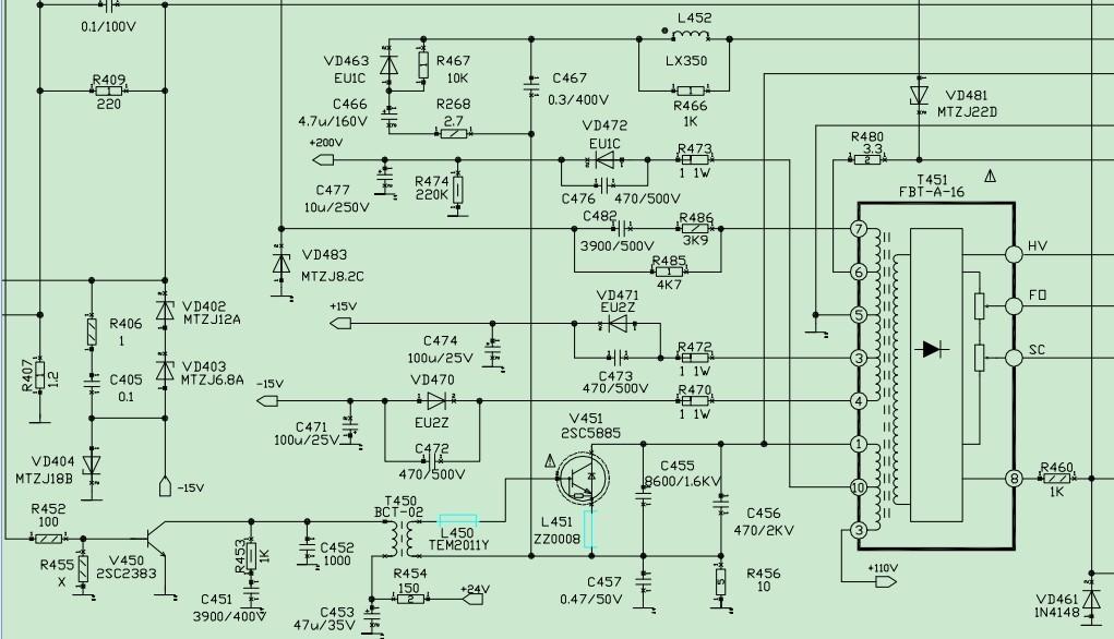 4根线电视机高压包接线图