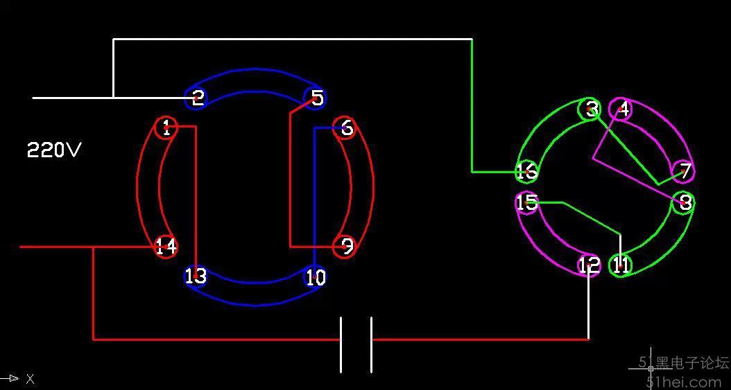 单相电机正反转的详细接线图