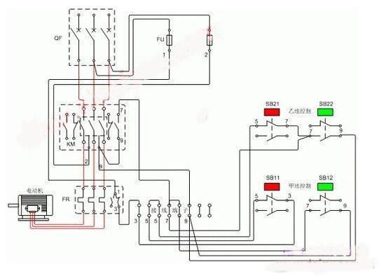 热继电器接线图小知识: 热继电器的主线路(接负载的)螺丝接点比较大,上面三点是三相进,下面三点是三相电出,螺丝接点较小是辅助触点,仔细看有号码95与96是常闭(正常情况是闭合的,过载后会断开),97与98是常开(正常情况是断开的,过载后会闭合)。有的辅助点只有三个的,那就是95与96是常闭,95与98是常开。