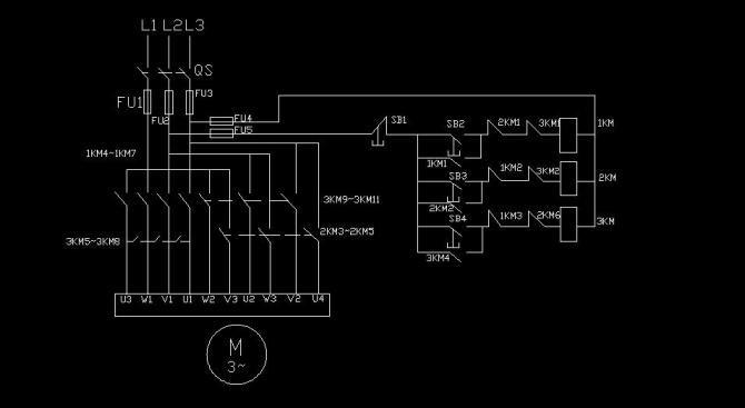 用三个接触器构成的三速异步电动机启动及加速控制