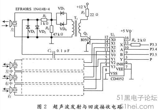 EFR40RS是收发一体封闭(防水)型超声波传感器,其中心频率f0=(40.01.0)kHz,-3 dB带宽1kHz。驱动电压峰一峰值要求60~150V。CD4052是双路四选一模拟开关,单片机的P3.4和P3.5端口输出选通信号,单片机的P3.3端口输出一串40kHz的脉冲电压,通过CD4052的X路加到选通的开关三极管Q1基极,经脉冲变压器T1升压至100VP-P左右,驱动超声波传感器EFR40RS发射超声波。发射时的脉冲电压幅值大小直接影响测距的远近,应采用超声波专用的脉冲变压器。反射回的超声波经
