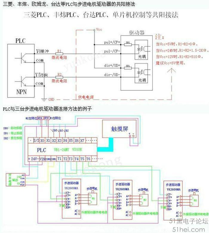 plc与三台步进电机驱动器接线图