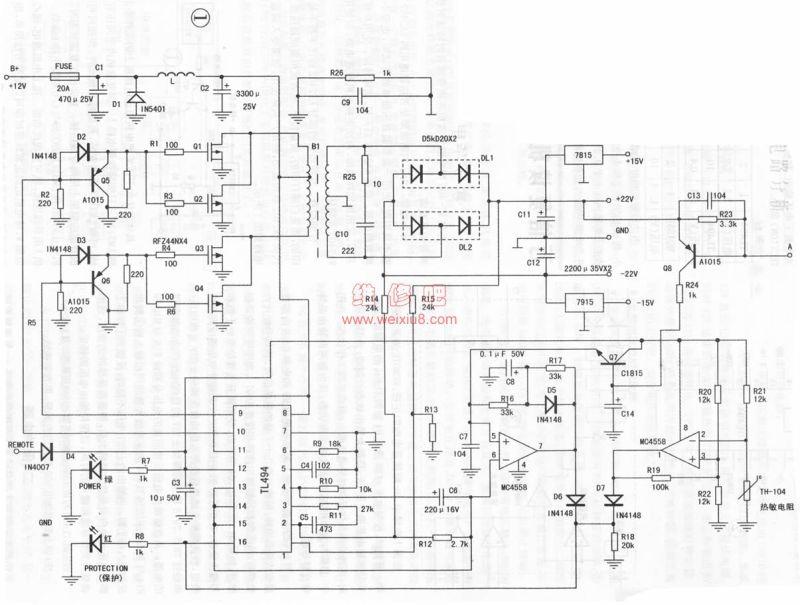 汽车功放电源电路分析 - 音响/功放/hifi diy