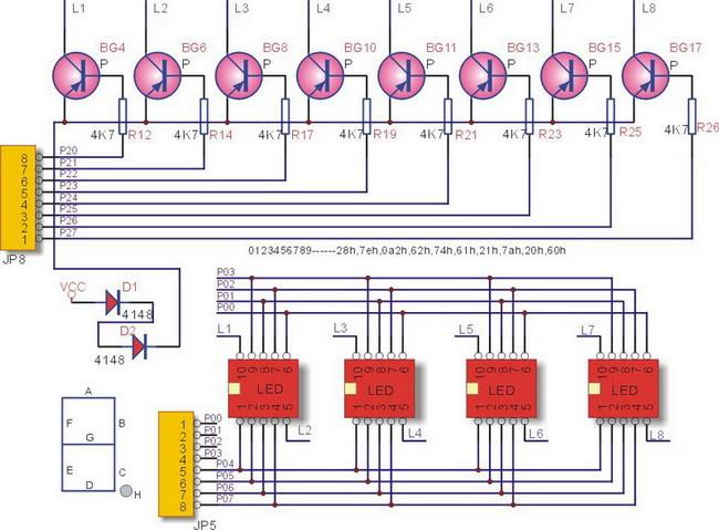 数码管动态扫描显示01234567显示  原理图:8个数码管它的数据线并联接