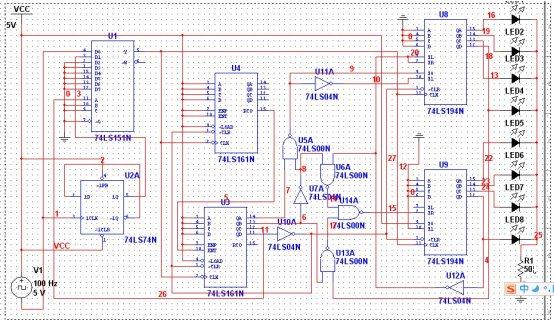 数字电路实现的八路彩灯循环电路课设