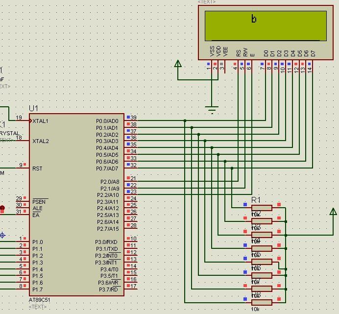 lcd1602液晶显示器 c51模块化程序+电路图