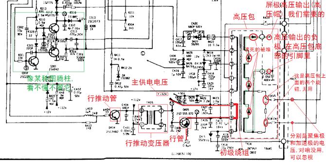 """首先在网上搜索高压包的型号(如""""佳丽彩2061"""")对应的电视机的电路图"""