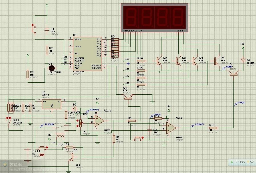 电路图仿真图 单片机源程序如下: //AT89C2051单片机,12M晶振 //lm317恒流放电注意散热,可以通过更改低1脚和第2脚之间的电阻来调节放电电流,公式为1.2v除以恒流值等于一二脚之间的电阻,比如恒流1200ma放电,1.2v/1.2A=1欧.2400ma放电就是1.2v/2.4A=0.5欧大电流放电对小容量电池有损害,不建议使用,恒流值须配合程序使用。不能随意设置。 #include