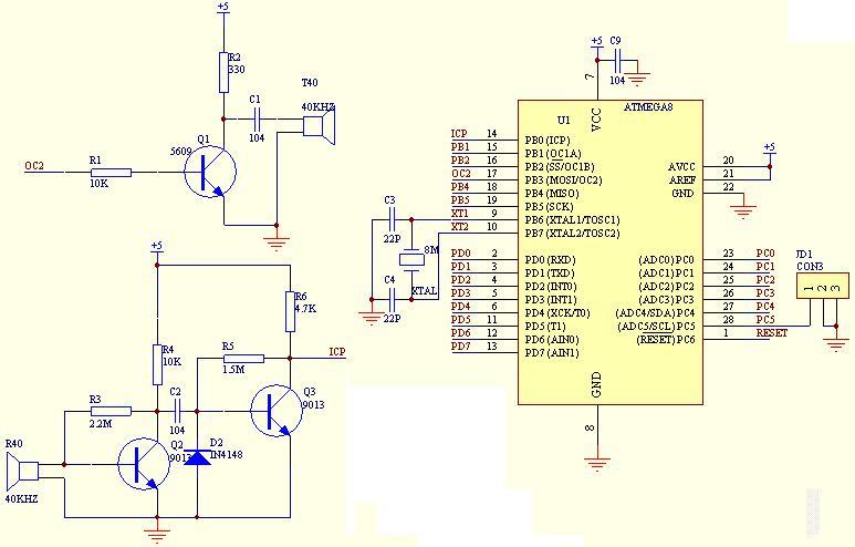 ATMEGA8单片机制作的超声波测距仪,测量范围10cm-250cm,测距小于100cm时,误差是1~2cm.,大于100cm时,误差是3~5cm。5V供电 检测距离 0.5M,ATMEGA8单片机制作的超声波测距仪由3位LED数码管显示障碍物距离, 3位LED数码管采用积木式插装方式,便于调试检查及使用在不同场合。这款超超声波测距仪,电路简单,制作容易,ATMEGA8单片机制作的超声波测距仪比较适合手于制作超声波避障小车的避障传感器。下面附上电原理图、源程序,方便大家仿制,需要说明的一点,这款超声波测距