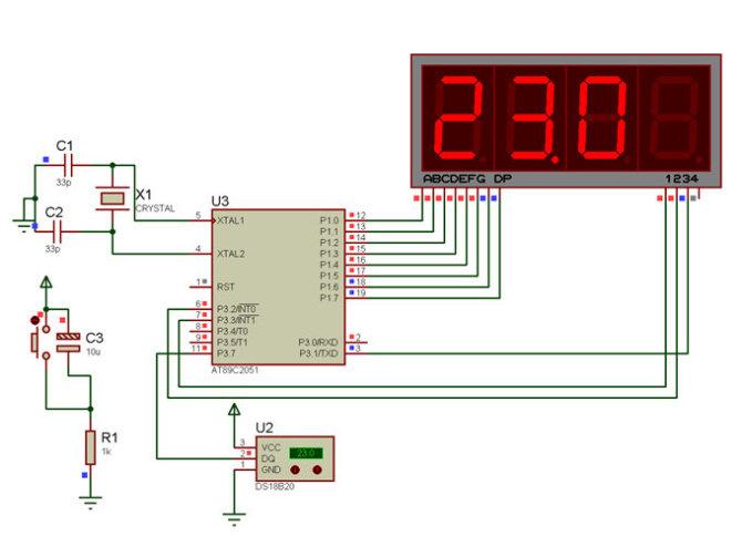 at89c51单片机温度计接线图