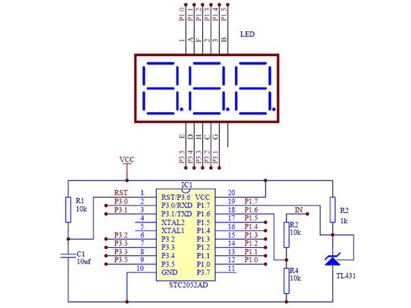 电路简单制作容易的stc12c2052ad单片机0-9