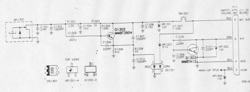 MOTOROLA TMN6013A、TMN6134A、HMN4000A是MOTOROLA的老式动圈话筒。其内部结构简单,就是一个动圈受话器直接输出和一个常开双路PTT开关,兼顾控制动圈话咪的接入电路开关。   八、KENWOOD 动圈话筒
