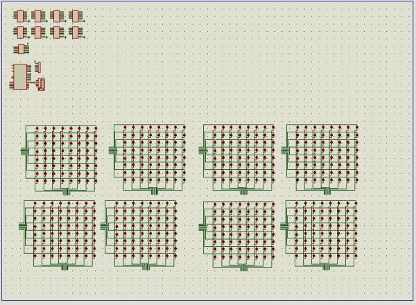 没有使用点阵,全部用独立LED。可能是元件太多的缘故,启动仿真之后非常卡,根本没有任何效果。删除其余LED只保留一个8*8阵列进行仿真时就不卡了,并且能够看到一些效果。这个文件在压缩包里也有,有兴趣的或者电脑NB点的可以继续研究一下。 另外,针对之前有朋友反应注释不够详细的情况,修改过后的程序增加了注释,希望对大家多一些帮助。 也有朋友问过上位机跟仿真图如何连接,在这里统一解答一下 1.