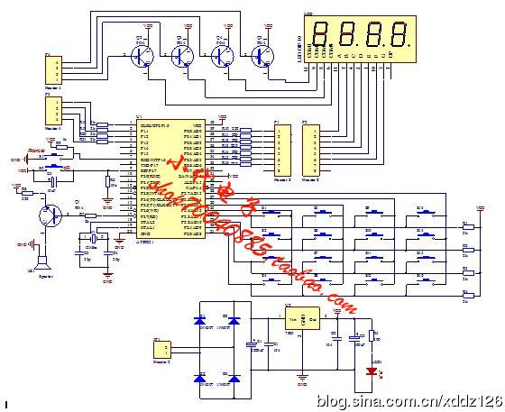 加注:12m晶振,数码管共阳 二,电路图 //16路抢答器   //12m晶振