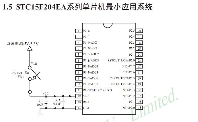 stc15f204ea引脚图及单片机最小系统电路
