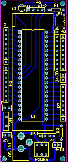51单片机最小系统的完整原理图pcb图