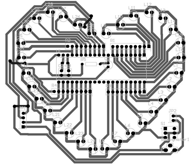 心形led流水灯电路原理图,pcb和源程序(sch,pcb源文件)图片