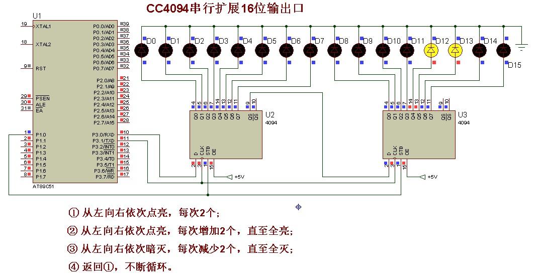 用定时器实现16个led灯轮流点亮(流水灯),间隔时间为100ms