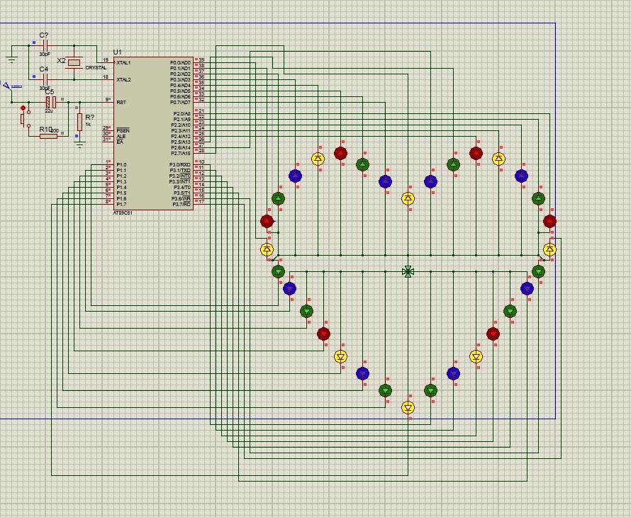 心形流水灯,40几种方式,程序加pcb
