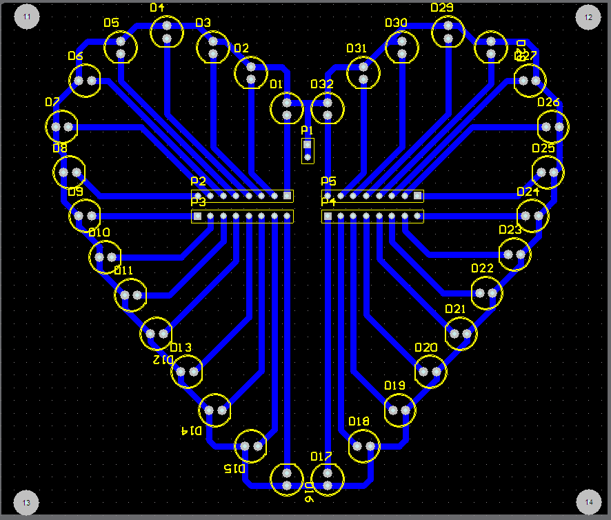 心形流水灯,40几种方式.程序加pcb