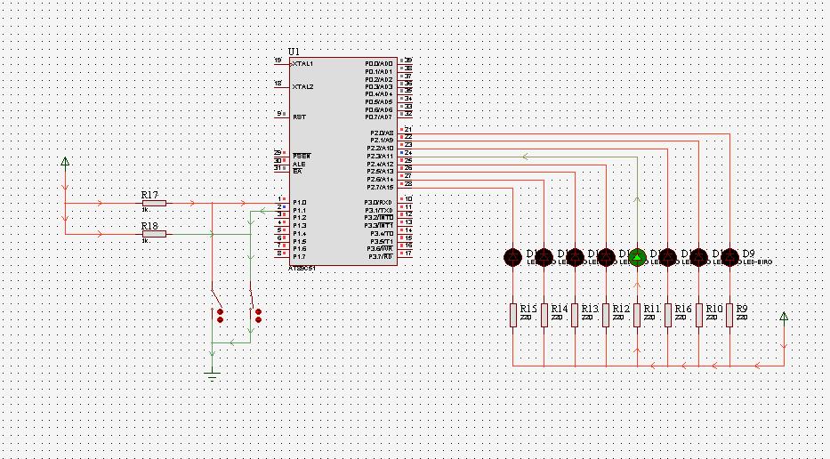 使用单片机最小系统实现对2个独立的8段LED数码管进行控制,掌握其电路连接方式,能够正确选择LED数码管类型,并控制实现LED数码管功能点亮,要求至少包含两个8段独立LED1和LED2,使其能够正常显示工作,显示内容为数字流水灯。 利用单片机的中断机制,使数码管LED1直接实现数字流水显示,而另一个数码管LED2根据案件控制,进行多组内容的切换显示变换效果,要求使用至少4个按键来控制显示切换,需要设计出多组显示的至少4组显示内容。 (1)单片机可以选择AT89C51或者AT89C52单片机。 (2)在LE