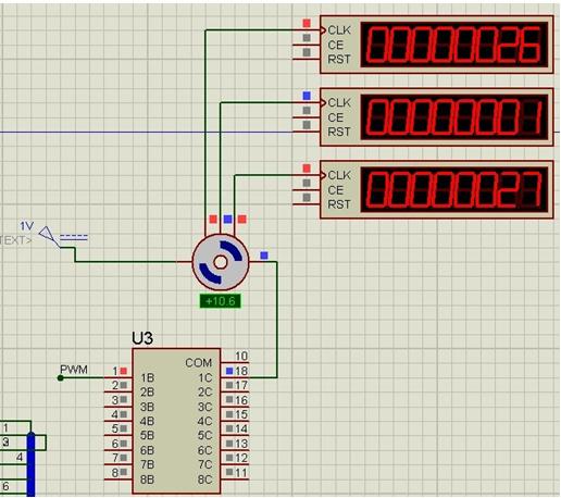 达林顿uln2803与三极管驱动直流电机电路原理图 编码器测转速 proteus