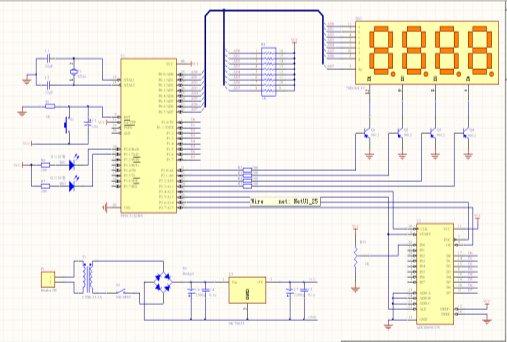 """设计中采用动态扫描法,实现四位数码管的数值显示,并显示小数点。数码管动态显示接口是单片机中应用最为广泛的一种显示方式之一,动态驱动是将所有数码管的8个显示笔划""""a,b,c,d,e,f,g,dp""""的同名端连在一起,另外为每个数码管的公共极COM增加位选通控制电路,位选通由各自独立的I/O线控制,当单片机输出字形码时,所有数码管都接收到相同的字形码,但究竟是那个数码管会显示出字形,取决于单片机对位选通COM端电路的控制,只要将需要显示的数码管的选通控制打开,该位就显示出字形,没有选通的数码"""