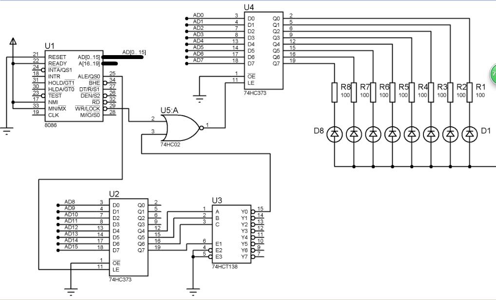 单片机lcd原理_8086cpu的流水灯proteus仿真及原理图和程序 - MCU综合技术区 单片机论坛