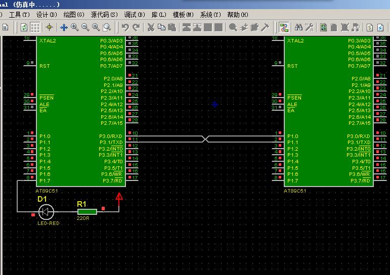 单片机io模拟串口进行通信的proteus仿真及源程序