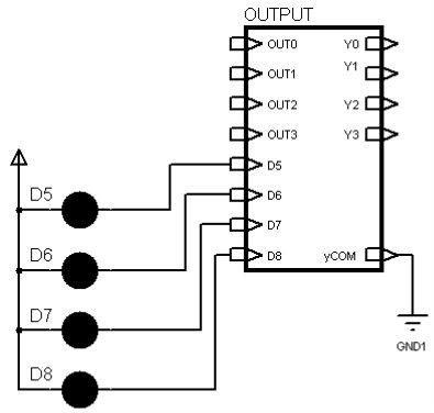 输出电路用于将单片机内部的低电压信号转换成驱动外部输出设备的
