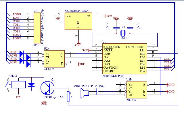 用pic单片机设计电子密码锁 含论文 源程序 电路图