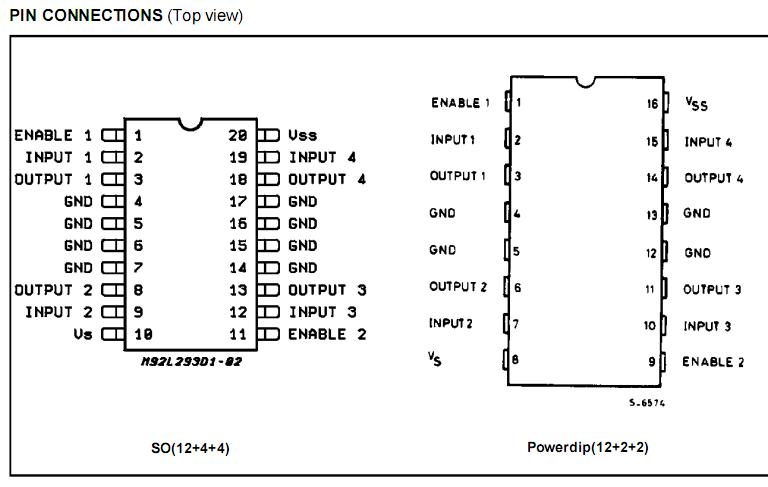 l293d电机驱动引脚图 功能介绍等 pdf中文资料下载