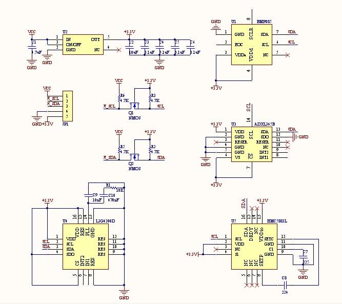 九轴模块资料hmc5883l adxl345 bmp085 l3g4200d
