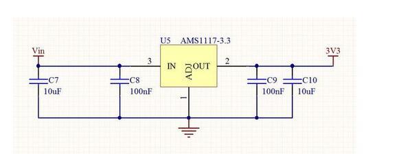 求一个ams1117 3.3的使用电路,找了好久没有找到,各位