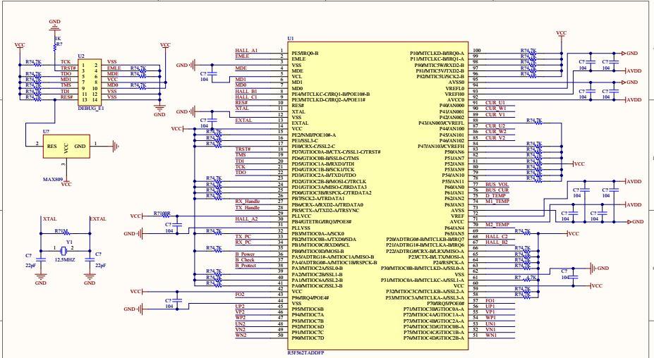 下面的瑞萨rx62t的mcu电路图大神能否讲解一下
