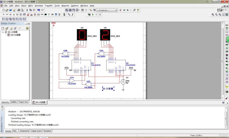 用multisim仿真161构成的24进制计数器电路图