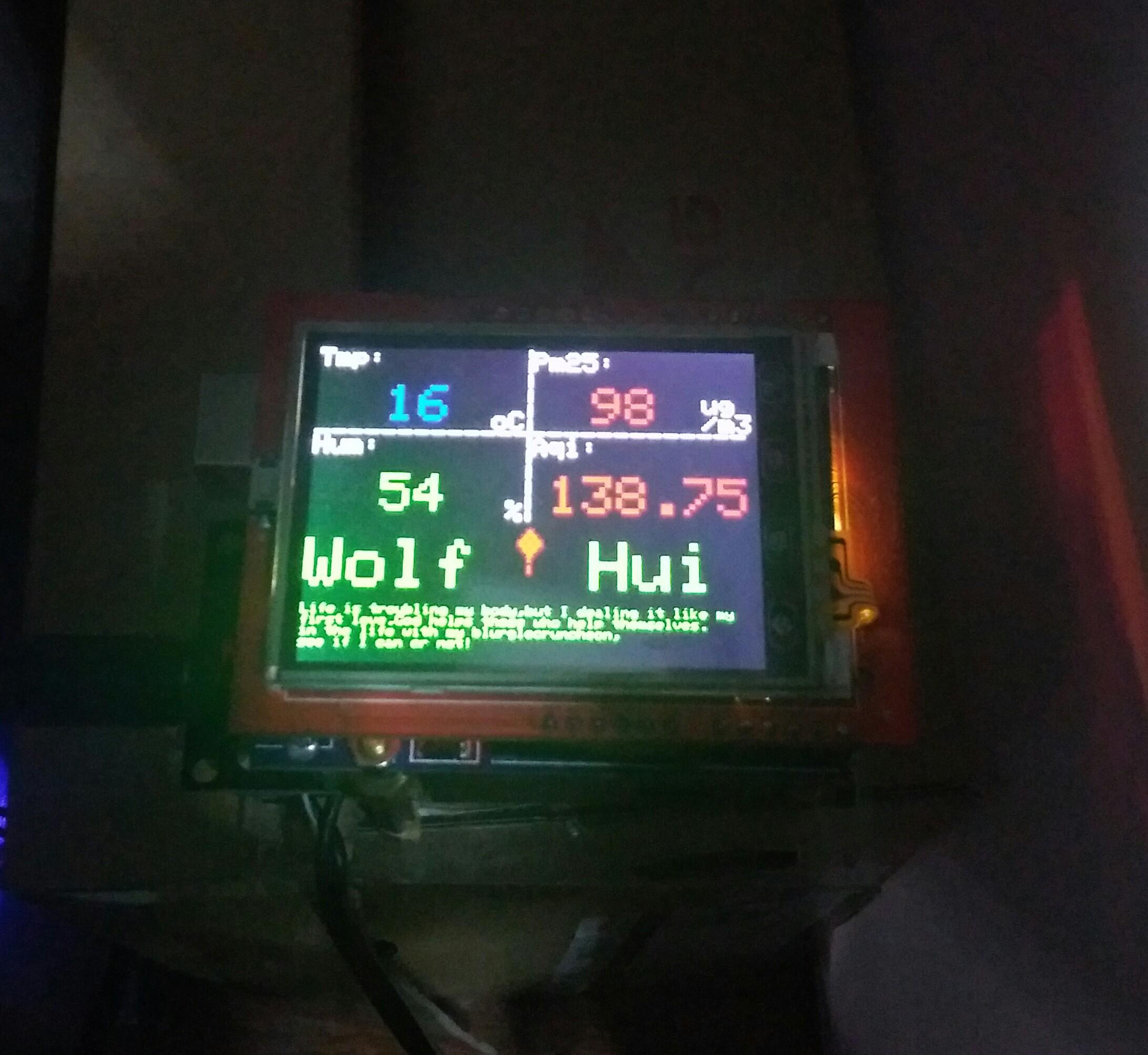 第一个arduino uno见笑 acg激光传感,dht11,3.2寸tft显示屏
