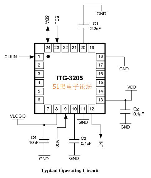 adxl345+itg3205引脚图与电路原理图等资料 九轴传感器程序与芯片数据