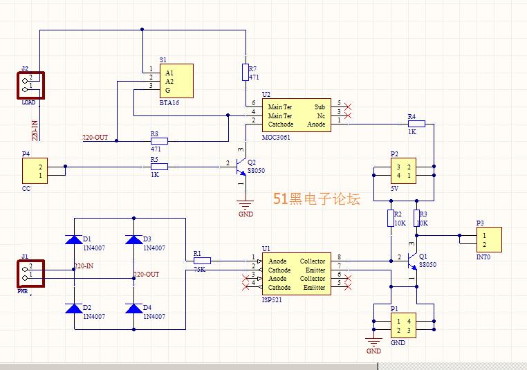 恒温箱电路PCB与原理图设计含过零检测和可控硅控制BTA16+P521+