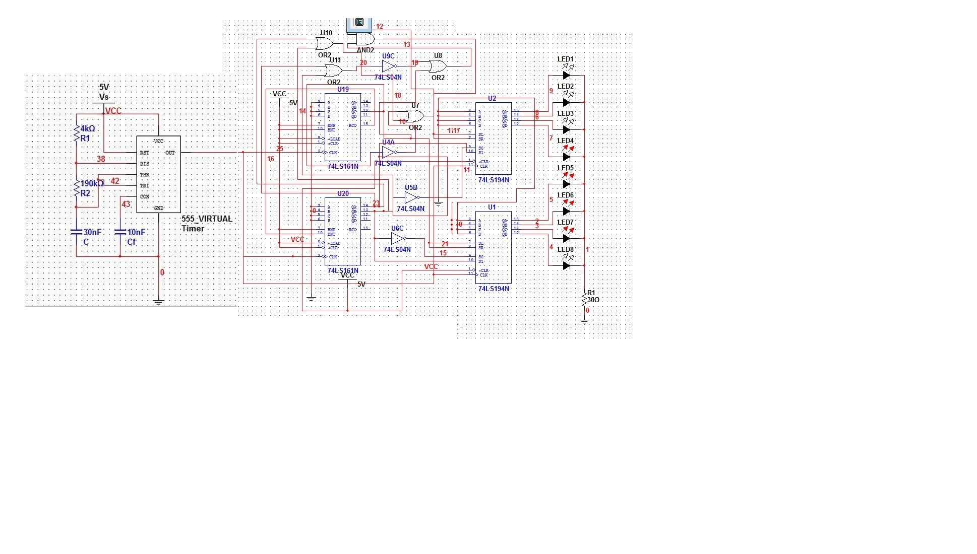 数字电路构成的8路led流水灯电路原理图