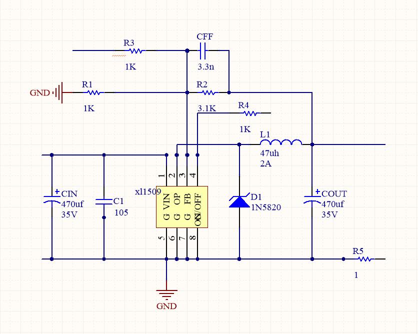 5v开关电源电路图_基于XL1509+stm32降压直流稳压电源程序 - STM32/8